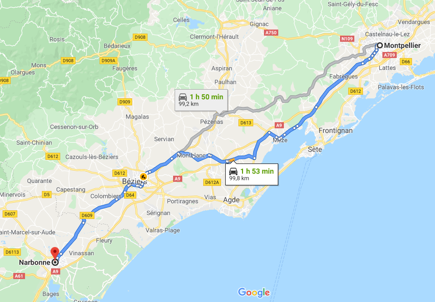 Screen de Google Maps sur le trajet Narbonne - Montpellier